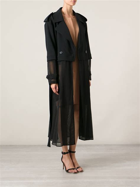 patterned cardigan lyst dkny sheer trench coat in black