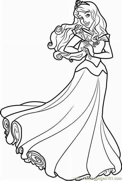 Aurora Princess Coloring Disney Printable Princesses Lovely