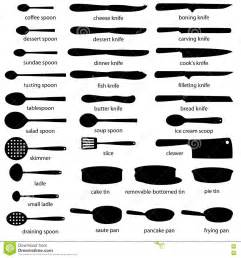uses of kitchen knives a big set of kitchenware knives spoons tins ladles pans with names silhouettes of