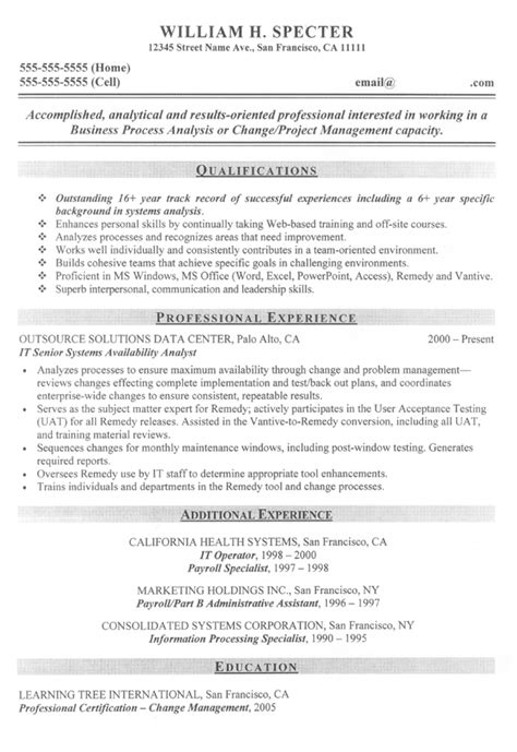 Business Systems Analyst Resume by Change Manager Project Manager Sle Resume The J O B