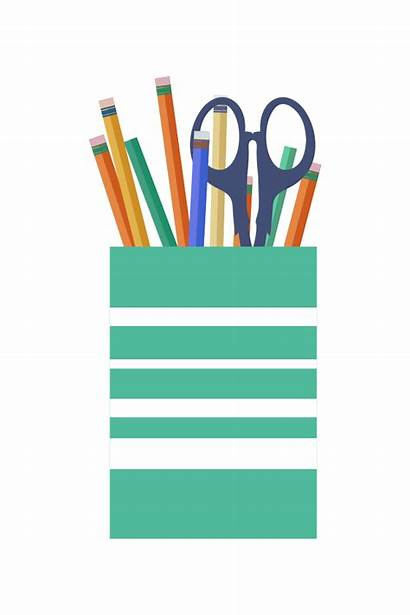 Cup Pens Pencils Office Scissors Clip Svg