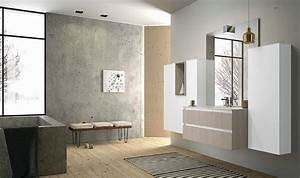 But Salle De Bain : meuble de salle de bain suspendu blanc et bois clair mb2 ~ Dallasstarsshop.com Idées de Décoration