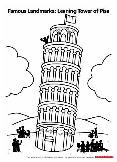 Leaning Pisa Tower Drawing Pdf Printable Landmarks