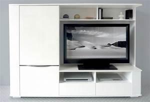 Meuble Tv Living : meuble tv living laque blanc cyrus ~ Teatrodelosmanantiales.com Idées de Décoration