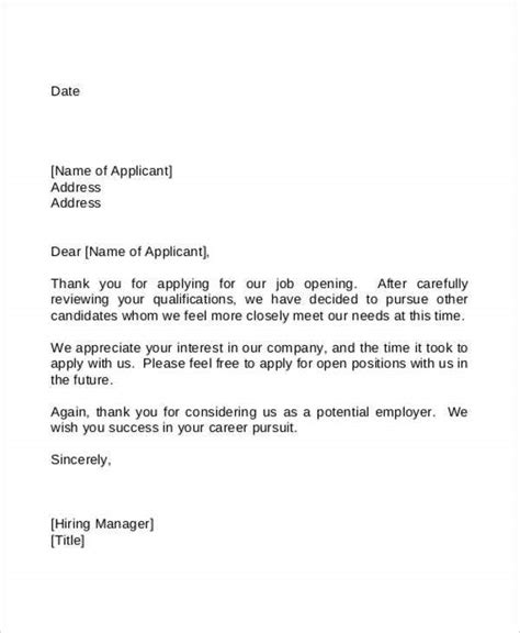 employment rejection letters   word  format