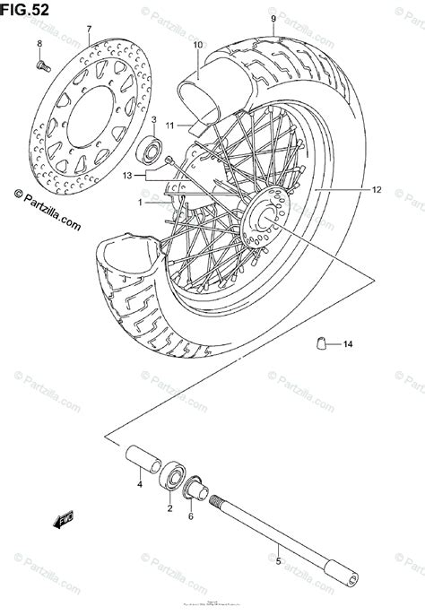 Suzuki Motorcycle Oem Parts Diagram For Front Wheel