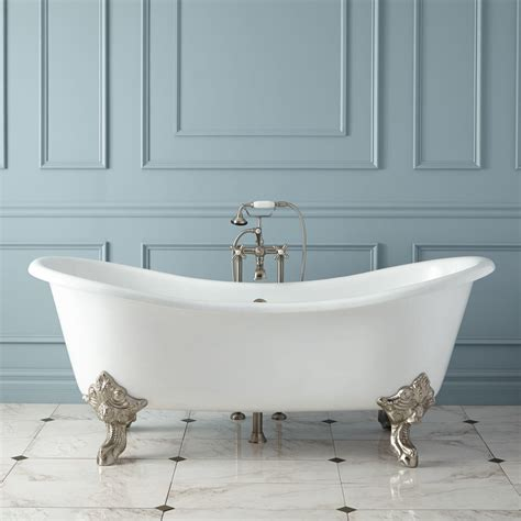 "71"" Aubretia Cast Iron Double Slipper Tub Bathroom"