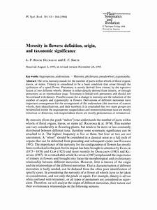 Pdf  Merosity In Flowers  Definition  Origin  And Taxonomic Significance