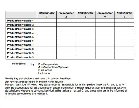 sample raci chart   documents   word excel
