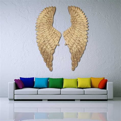 ancient wall decoration metal angel wings bar coffee shop