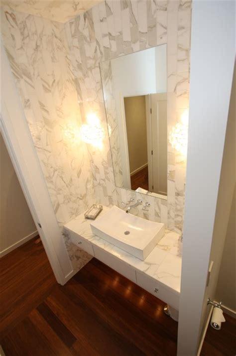 marble powder room contemporary powder room