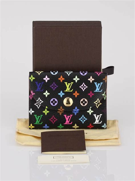 Brown and tan monogram coated canvas louis vuitton business card holder with brown taiga leather lining and three interior card slots. Louis Vuitton Black Monogram Multicolor Business Card Holder - Yoogi's Closet