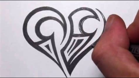 drawing  simple tribal maori heart tattoo design youtube