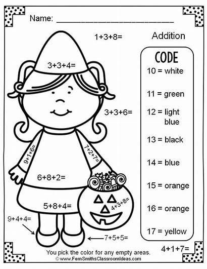 Halloween Addition Number Addends Three Worksheets Math