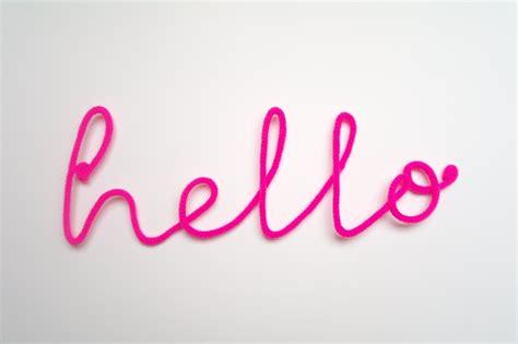 neon sign hello crochet cursive wire wall