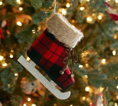 Plaid Ice Skate Ornament   Pottery Barn