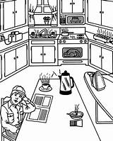 Kitchen Coloring Pages Breakfast Waiting sketch template