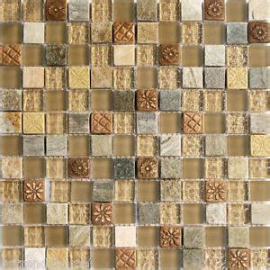 Sample Natural Brown Stone Glass Mosaic Tile Kitchen
