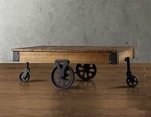 Restoration industrial style hardware coffee table wheels for Industrial wood coffee table with wheels