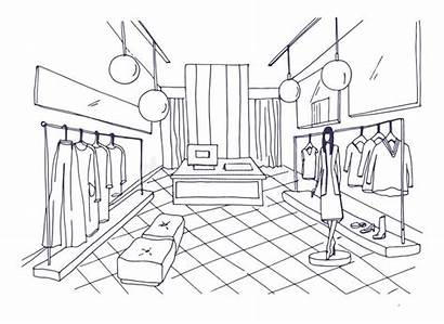 Drawing Boutique Outline Clothing Clothes Mannequin Interior