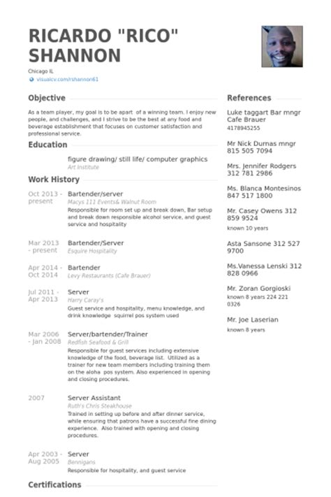 Waitress Bartender Resume Exles by Bartender Resume Sles Visualcv Resume Sles Database