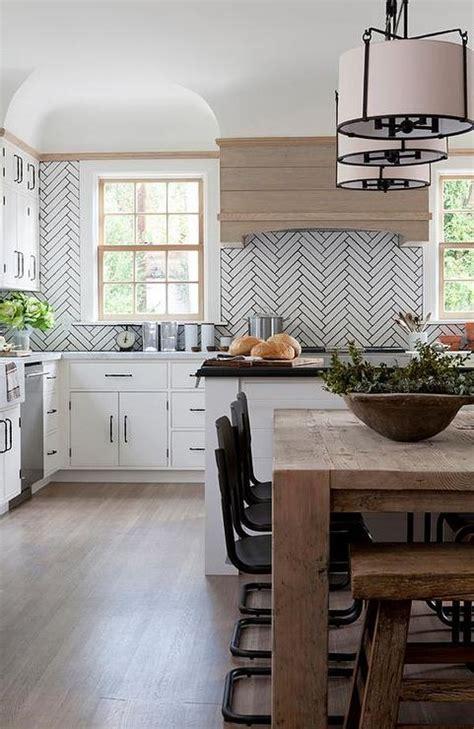 White Linear Kitchen Backsplash With Gray Grout Design Ideas