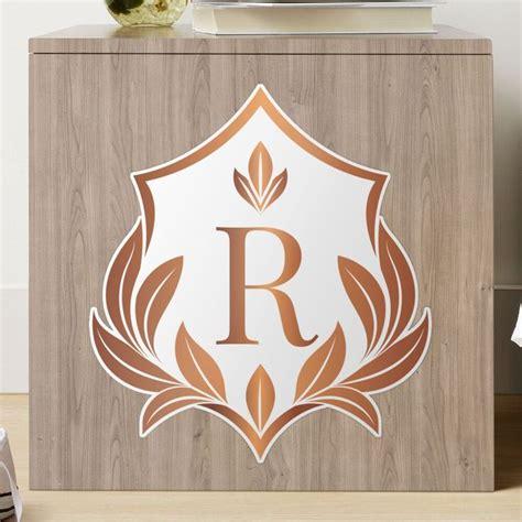 laurel shield monogram initial letter  personalized designrose gold  white luxury frame