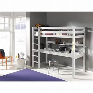 Lit Enfant Taille : lit mezzanine avec bureau ruben 90x200 blanc achat ~ Premium-room.com Idées de Décoration