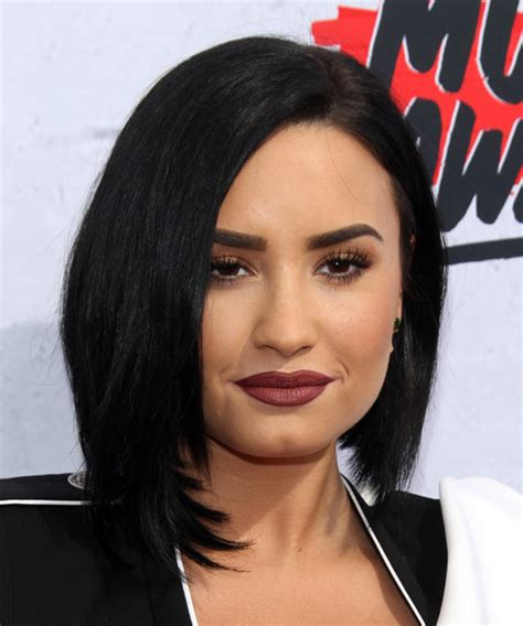 demi lovato medium straight black bob haircut