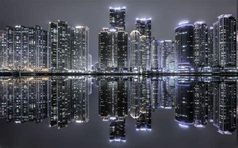 landscape south korea skyscraper cityscape reflection