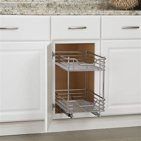 Twotier Chrome Sliding Cabinet Organizer In Pull Out Baskets