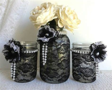 black and white wedding diy table decor black lace