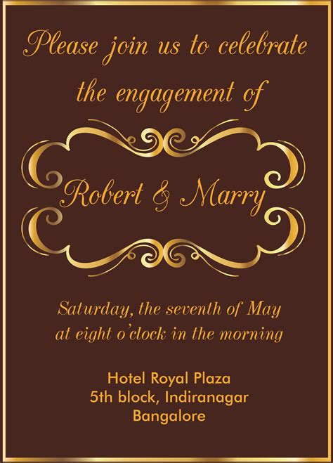 Free Gold Themed Engagement invitation card with wordings