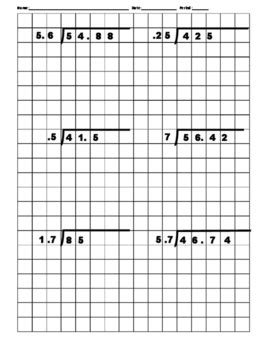 decimal long division on graph paper by math in motion tpt