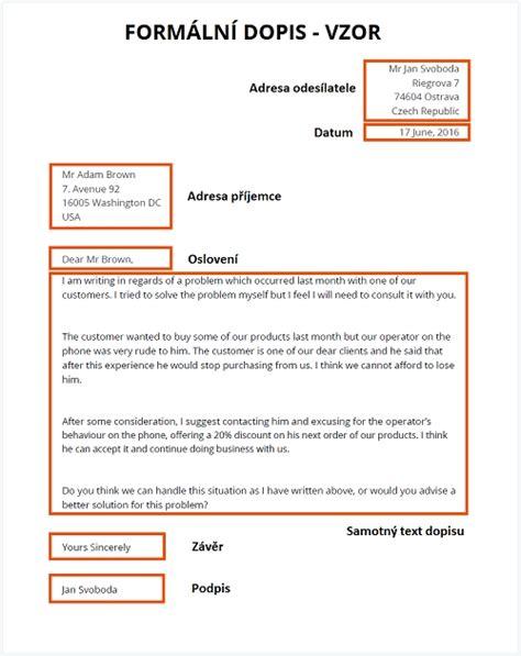 formal letter vzor letters free sle letters