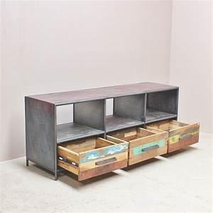 Meuble Tv Bois Et Fer : meuble tv fer et bois maison design ~ Teatrodelosmanantiales.com Idées de Décoration