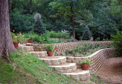 terraced retaining wall estate wall basalite