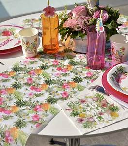 Chemin De Table Jetable Style Tropical En Tissu Drage D