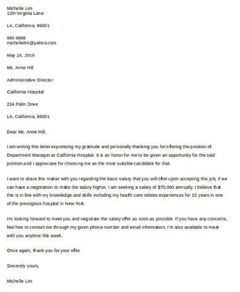 Salary Negotiation Email Template by 7 Sle Salary Negotiation Letters Sle Templates