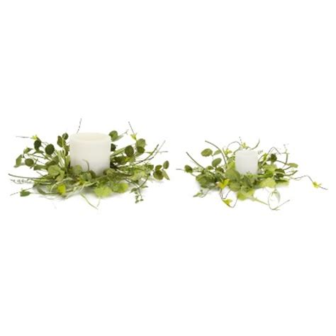 pack of 4 artificial green mixed foliage decorative candle