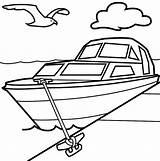 Coloring Boat Pages Motor Printable Transportation Popular sketch template