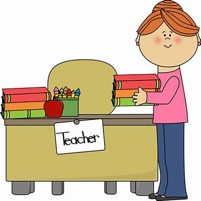 Table Teacher Clipart Clip Desk Teachers Library