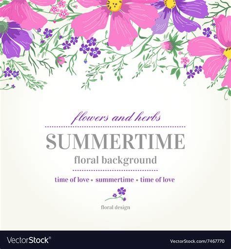 wedding invitation  pink  purple flowers vector image