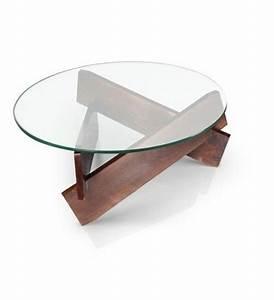 Verre Pour Table : d co salon table basse bois et verre ronde pour le salon moderne leading ~ Teatrodelosmanantiales.com Idées de Décoration