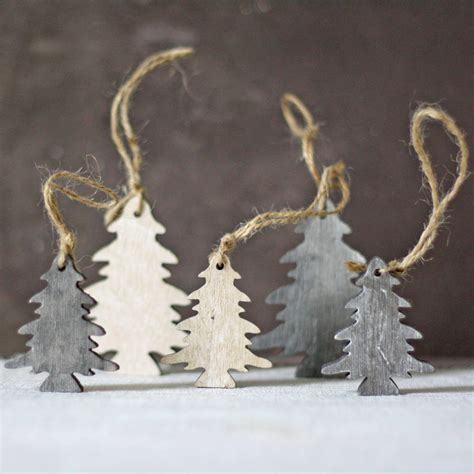 hanging decorations for christmas wooden trees hanging christmas tree decorations by the wedding of my dreams notonthehighstreet com