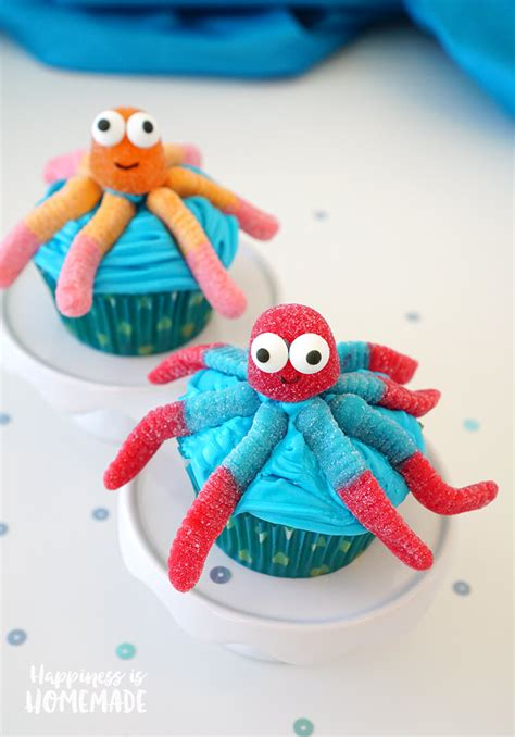 super cute easy octopus cupcakes happiness  homemade