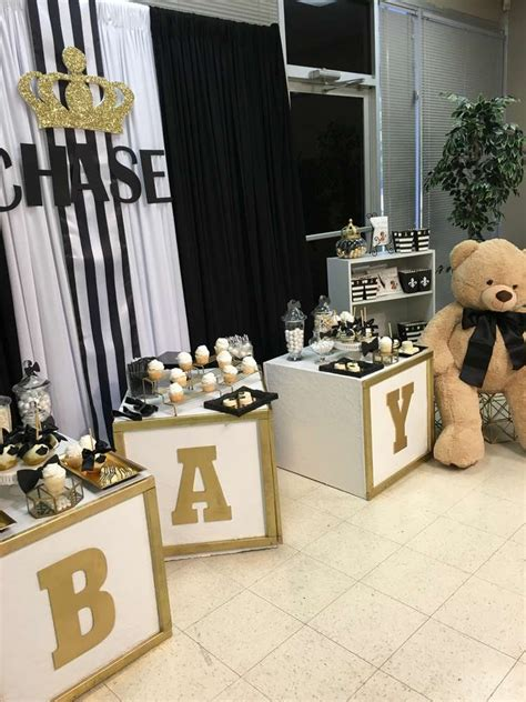 black and gold baby shower royal prince baby shower party ideas photo 1 of 34