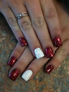Red and White Rock Star Nails | Nails | Pinterest