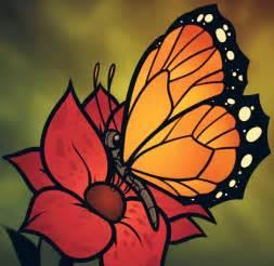 Butterflies On Flowers Drawings