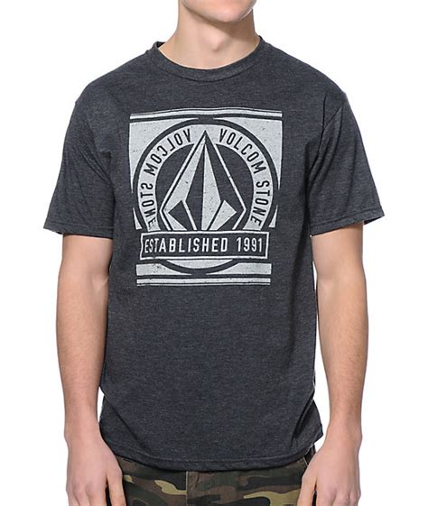 volcom current charcoal t shirt